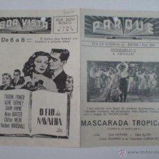 Cine: MASCARADA TROPICAL // FOLLETO DE MANO PORTUGUES 1947 // PROGRAMA DOBLE . Lote 53339179