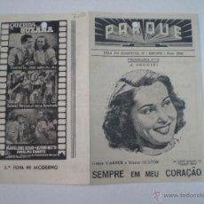 Cine: SEMPRE EN MEU CORACAO // FOLLETO DE MANO PORTUGUES 1947 // PROGRAMA DOBLE // GLORIA WARREN . Lote 53339227