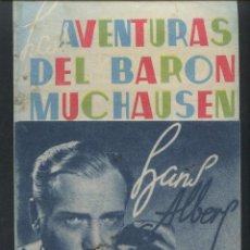Cine: LAS AVENTURAS DEL BARÓN MUNCHAUSEN HANS ALBERS BRIGITE HORNEY, ILSE WERNER PROGRAMA CON PUBLICIDAD. Lote 53342459