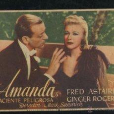 Cine: PROGRAMA AMANDA, LA PACIENTE PELIGROSA, FRED ASTAIRE, GINGER ROGERS CON PUBLICIDAD. Lote 53350559