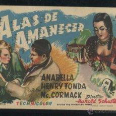 Cine: PROGRAMA ALAS DE AMANECER, MAGNÍFICO IMPECABLE SENCILLO, HENRY FONDA, 1952, CON PUBLICIDAD . Lote 53352409
