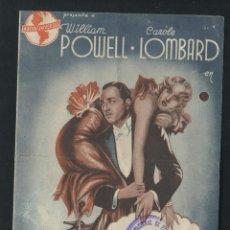 Cine: PROGRAMA AL SERVICIO DE LAS DAMAS WILLIAM POWELL CAROLE LOMBARD CON PUBLICIDAD. Lote 53371754