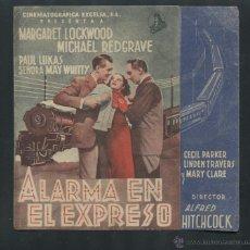Cine: ALARMA EN EL EXPRESO DE ALFRED HITCHCOCK . PROGRAMA DOBLE CON PUBLICIDAD. Lote 53374111