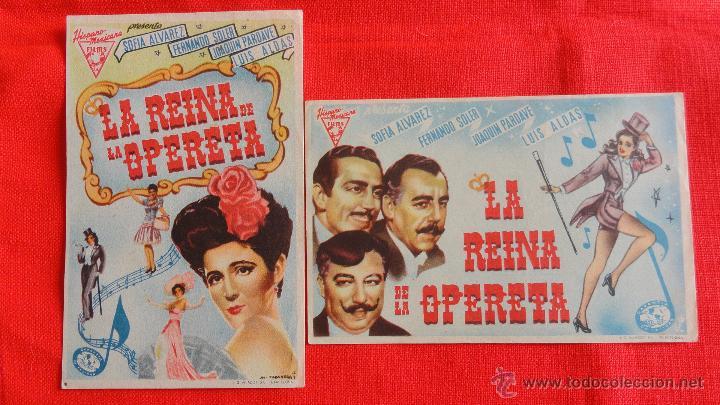 LA REINA DE LA OPERETA, 2 SENCILLOS ORIGINALES, EXCTE. ESTADO,SOFIA ALVAREZ FERNANDO SOLER SIN PUBLI (Kino - Filmprogrammhefte - Musicals)