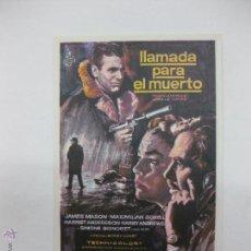 Cine: PROGRAMA DE CINE. LLAMADA PARA EL MUERTO. JAMES MASON, MAXIMILIAN SCHELL....COLUMBIA. Lote 53378943