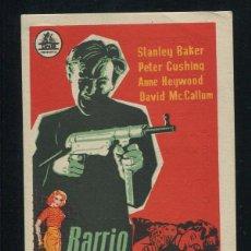 Cine: PROGRAMA BARRIO PELIGROSO CON STANLEY BAKER Y PETER CUSHING AÑO 1958 CON PUBLICIDAD. Lote 53379333