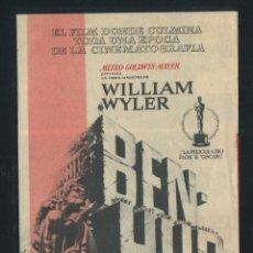 Cine: PROGRAMA BEN-HUR - CHARLTON HESTON, JACK HAWKINS - CON PUBLICIDAD. Lote 53382165
