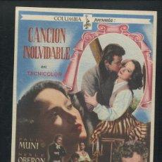 Cine: PROGRAMA CANCIÓN INOLVIDABLE - MERLE OBERON - PAUL MUNI - CORNEL WILDE - CHARLES VIDOR - COLUMBIA. Lote 53396091