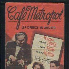 Cine: PROGRAMA CINE CAFE METROPOL. TYRONE POWER, LORETTA YOUNG. 20TH CENTURY FOX. CON PUBLICIDAD. Lote 53396247