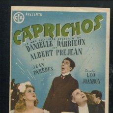 Cine: PROGRAMA CAPRICHOS - DANIELLE DARRIEUX, ALBERT PREJEAN CON PUBLICIDAD. Lote 53396296