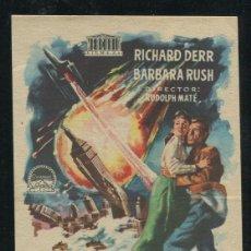 Folhetos de mão de filmes antigos de cinema: PROGRAMA CUANDO LOS MUNDOS CHOCAN, RICHARD DERR, BARBARA RUSH. Lote 53441052