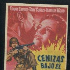 Cine: PROGRAMA CENIZAS BAJO EL SOL-DELMER DAVES-FRANK SINATRA-TONY CURTIS-NATALIE WOOD CON PUBLICIDAD. Lote 53449192