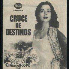 Cine: PROGRAMA CRUCE DE DESTINOS - AVA GARDNER, STEWART GRANGER, BILL TRAVERS - DIRECTOR GEORGE CUKOR. Lote 53464215
