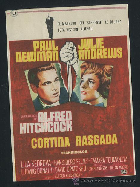 CORTINA RASGADA PROGRAMA SENCILLO UNIVERSAL ALFRED HITCHCOCK PAUL NEWMAN JULIE ANDREWS (Cine - Folletos de Mano - Suspense)