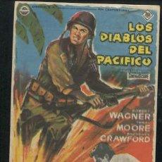 Cine: PROGRAMA LOS DIABLOS DEL PACIFICO. ROBERT WAGNER, TERRY MOORE CON PUBLICIDAD. Lote 53481101