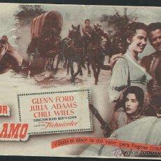 Cine: PROGRAMA EL DESERTOR DE EL ALAMO CON GLENN FORD Y JULIA ADAMS CON PUBLICIDAD. Lote 53492300