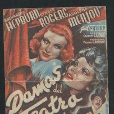 Cine: PROGRAMA DAMAS DEL TEATRO - KATHARINE HEPBURN, GINGER ROGERS - CON PUBLICIDAD. Lote 53492338