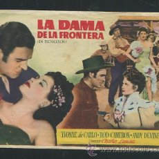 Cine: PROGRAMA DE CINE LA DAMA DE LA FRONTERA, YVONNE DE CARLO Y ROD CAMERON. CON PUBLICIDAD. Lote 53492476