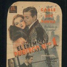 Cine: PROGRAMA EL ENEMIGO PUBLICO Nº 1, CLARK GABLE, MYRNA LOY, WILLIAM POWELL CON PUBLICIDAD. Lote 53493401
