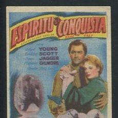 Cine: PROGRAMA CINE.- ESPIRITU DE CONQUISTA ROBERT YOUNG RANDOLPH SCOTT. 20TH CENTURY FOX. CON PUBLICIDAD. Lote 53493479