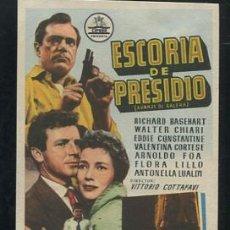 Cine: ESCORIA DE PRESIDIO PROGRAMA DE MANO ORIGINAL - RICHARD BASEHART EDDIE CONSTANTINE ANTONELLA LUALDI. Lote 53496102