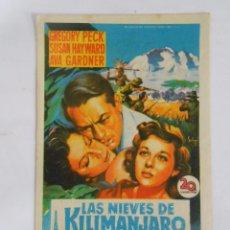 Cine: PROGRAMA FOLLETO MANO DE CINE DE LOGROÑO LAS NIEVES DEL KILIMANJARO GREGORY PECK. CINEMA DIANA TDKP6. Lote 53552711