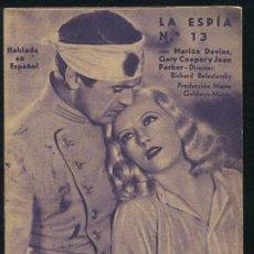 Cine: LA ESPIA NUMERO 13 PROGRAMA TARJETA MGM GARY COOPER MARION DAVIES JEAN PARKER. Lote 53575100