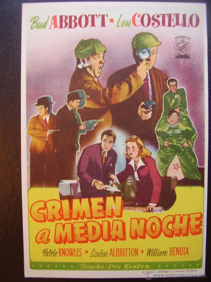 CRIMEN A MEDIANOCHE, BUD ABBOTT Y LOU COSTELLO (Cine - Folletos de Mano - Comedia)
