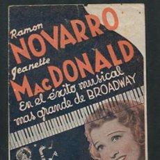 Cine: PROGRAMA EL GATO Y EL VIOLIN PROGRAMA DOBLE MGM JEANETTE MACDONALD RAMON NOVARRO CON PUBLICIDAD. Lote 53596068