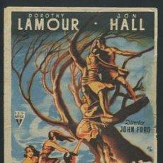 Cine: PROGRAMA HURACAN SOBRE LA ISLA. DOROTHY LAMOUR, JON HALL. DIR. JOHN FORD CON PUBLICIDAD. Lote 53599134
