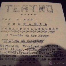 Cine: ANTIGUA PUBLICIDAD DE OBRAS DE TEATRO,COMPAÑIA MORA-PEVALENDRO. Lote 53602572