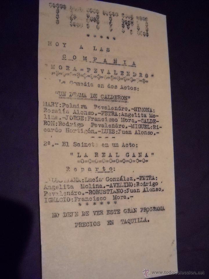 Cine: ANTIGUA Publicidad de obras de teatro,COMPAÑIA MORA-PEVALENDRO - Foto 3 - 53602572