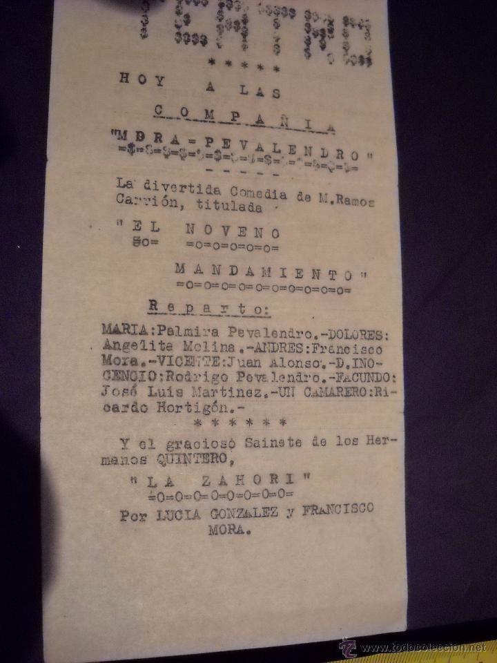 Cine: ANTIGUA Publicidad de obras de teatro,COMPAÑIA MORA-PEVALENDRO - Foto 5 - 53602572