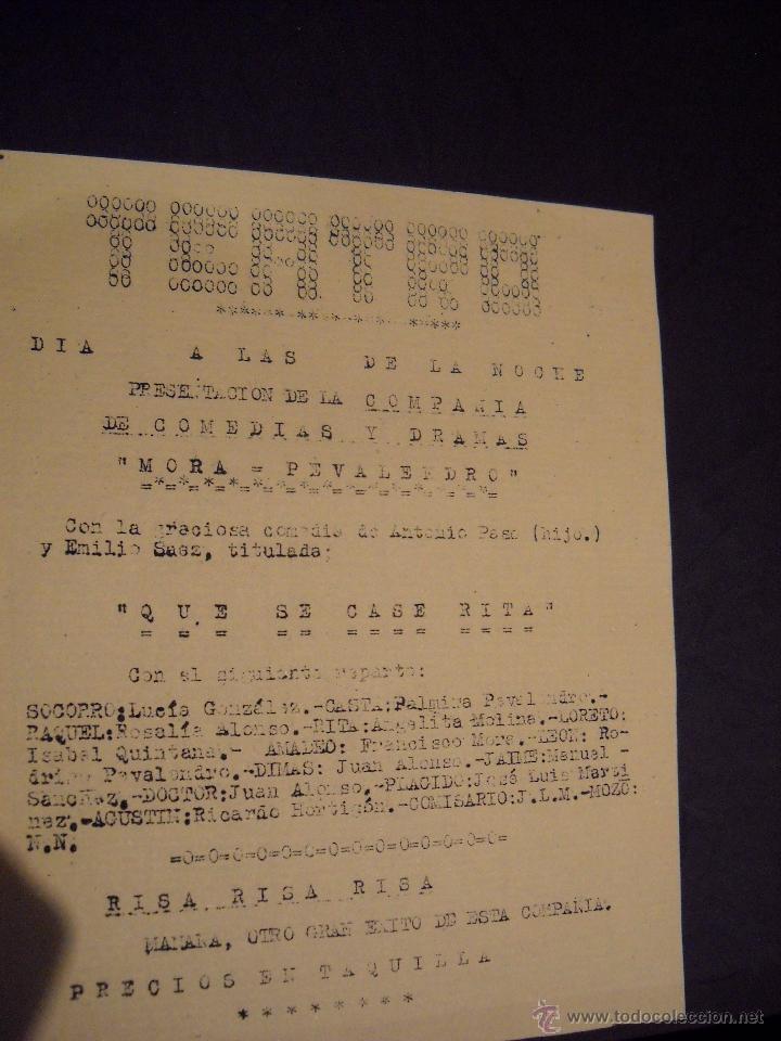 Cine: ANTIGUA Publicidad de obras de teatro,COMPAÑIA MORA-PEVALENDRO - Foto 7 - 53602572