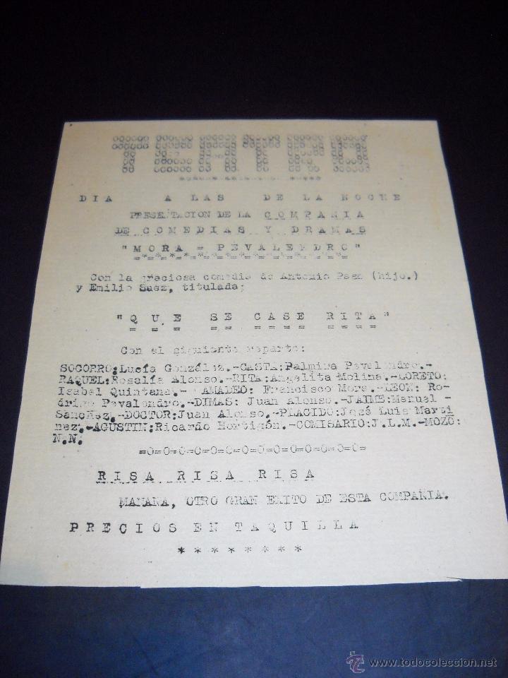 Cine: ANTIGUA Publicidad de obras de teatro,COMPAÑIA MORA-PEVALENDRO - Foto 11 - 53602572