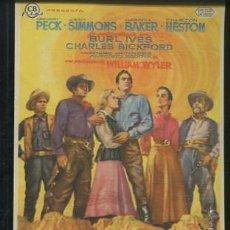 Cine: PROGRAMA HORIZONTES DE GRANDEZA. GREGORY PECK, CHARLTON HESTON, JEAN SIMMONS CON PUBLICIDAD. Lote 53606544