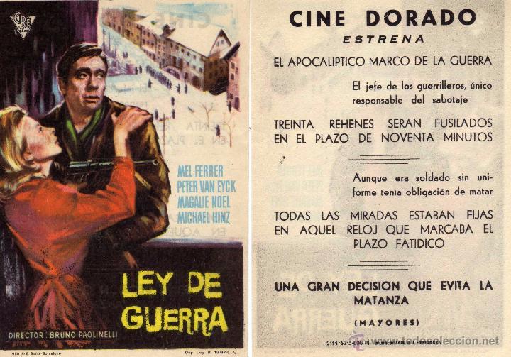 FOLLETO DE MANO LEY DE GUERRA. CINE DORADO ZARAGOZA (Cine - Folletos de Mano - Bélicas)