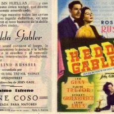 Cine: FOLLETO DE MANO HEDDA GABLER . CINE COSO ZARAGOZA. Lote 53610946