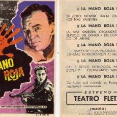Cine: FOLLETO DE MANO LA MANO ROJA . TEATRO FLETA ZARAGOZA. Lote 290387538