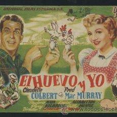 Cine: PROGRAMA EL HUEVO Y YO - CLAUDETTE COLBERT, FRED MACMURRAY - CON PUBLICIDAD. Lote 53613461