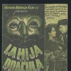 Cine: PROGRAMA DE CINE DE MANO LA HIJA DE DRACULA VAMPIROS CON PUBLICIDAD. Lote 225200038