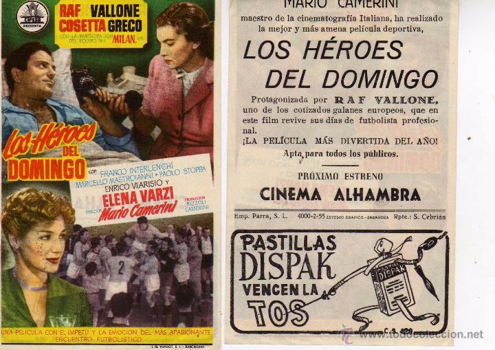 FOLLETO DE MANO LOS HEROES DEL DOMINGO . CINE ALHAMBRA ZARAGOZA (Cine - Folletos de Mano - Deportes)