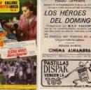Cine: FOLLETO DE MANO LOS HEROES DEL DOMINGO . CINE ALHAMBRA ZARAGOZA. Lote 53614169