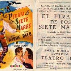 Cine: FOLLETO DE MANO EL PIRATA DE LOS SIETE MARES. TEATRO IRIS ZARAGOZA. Lote 53632753