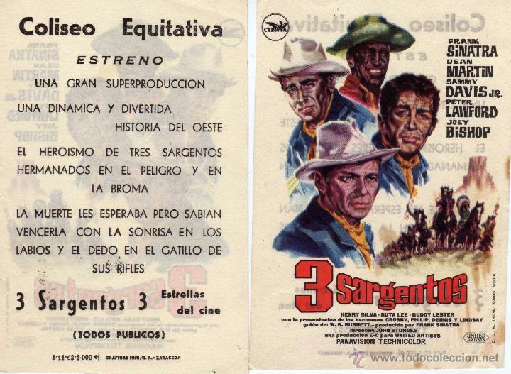 FOLLETO DE MANO 3 SARGENTOS CON FRANK SINATRA . COLISEO EQUITATIVA ZARAGOZA (Cine - Folletos de Mano - Westerns)