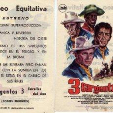 Cine: FOLLETO DE MANO 3 SARGENTOS CON FRANK SINATRA . COLISEO EQUITATIVA ZARAGOZA. Lote 139834350