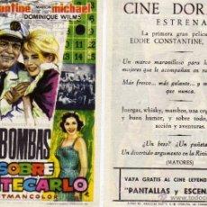 Cine: FOLLETO DE MANO BOMBAS SOBRE MONTECARLO. CINE DORADO ZARAGOZA. Lote 53654625