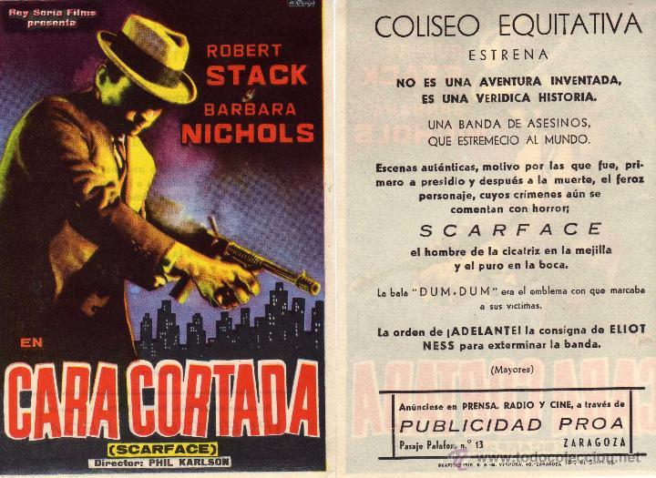 FOLLETO DE MANO CARA CORTADA (SCARFACE) . COLISEO EQUITATIVA ZARAGOZA (Cine - Folletos de Mano - Acción)