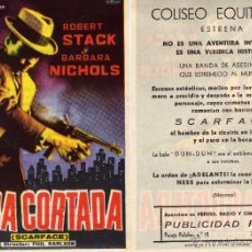 Cine: FOLLETO DE MANO CARA CORTADA (SCARFACE) . COLISEO EQUITATIVA ZARAGOZA. Lote 214003955