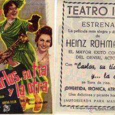 Cine: FOLLETO DE MANO CARLOS, SU TIA Y LA OTRA. TEATRO IRIS ZARAGOZA. Lote 107421144